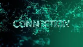 3D анимация цифровой сети Соединение текста иллюстрация вектора
