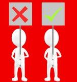 3d белый характер, 2 характер, одно из их держа неправильную доску знака и другое удерживание метка знака тикания бесплатная иллюстрация