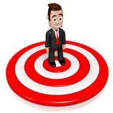 3D бизнесмен, концепция dartboard иллюстрация штока