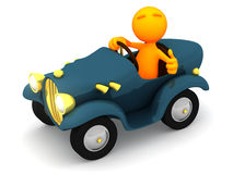 3d Гай: Водитель дает большие пальцы руки вверх Стоковые Фотографии RF