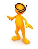 3d Гай: Носить маску шноркеля Стоковые Фото