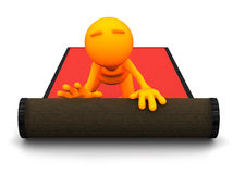 3d Гай: Свертывать вне красный ковер Стоковые Фотографии RF