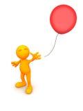3d Гай: Человек выпускает красный воздушный шар Стоковые Фотографии RF