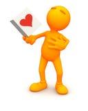 3d Гай: Человек касанный карточкой валентинки Стоковое Изображение RF