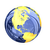 3d: Голубой стекловидный взгляд глобуса земли Северной Америки Стоковые Фото