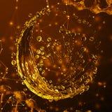 3D детализировало иллюстрацию падения цвета золота воды Стоковая Фотография