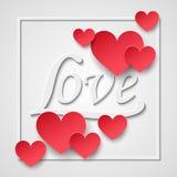 3d завертывают рамку в бумагу сердец валентинок, белый текст влюбленности Счастливые элементы дня валентинок и дизайна weeding Пр иллюстрация вектора