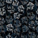 Безшовная иллюстрация картины абстрактных пламен со смешанными печатями и стилями обмана зрения иллюстрация штока