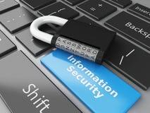 3d закрыло Padlock и информационную безопасность на клавиатуре компьютера Стоковое Фото