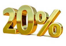3d золото 20 знак скидки 20 процентов Стоковые Изображения RF