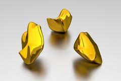 3D золотые самородки - принципиальная схема Стоковые Фотографии RF