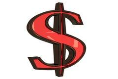 3d изолированное золотым долларом Стоковые Изображения
