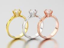 3D иллюстрация 3 желтеет, розовое и белое золото или серебр trad Стоковые Изображения RF
