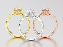 3D иллюстрация 3 желтеет, розовое и белое золото или серебр trad Стоковое Изображение