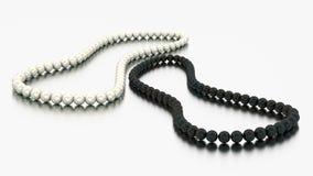 3D иллюстрация ожерелья 2 белые и черные жемчуга отбортовывает иллюстрация вектора