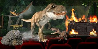 3D иллюстрация, цифровая концепция технологии индустрии кино 3D иллюстрация штока