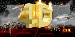 3D иллюстрация, цифровая концепция технологии индустрии кино 3D бесплатная иллюстрация