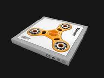 3d иллюстрация игрушки обтекателя втулки непоседы руки, изолированная чернота Стоковые Изображения
