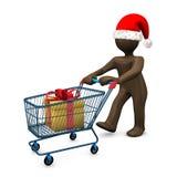 3D иллюстрация, figurine Брайна с шляпой рождества, покупками, pr Стоковые Изображения RF