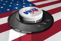 3D кнопка бело с словом ГОЛОСОВАНИЕМ на предпосылке американского флага иллюстрация вектора