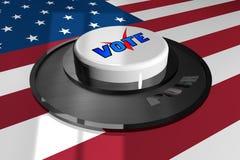 3D кнопка бело с словом ГОЛОСОВАНИЕМ на предпосылке американского флага иллюстрация штока