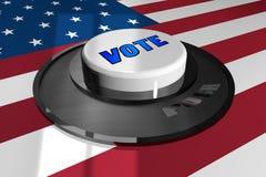 3D кнопка бело с словом ГОЛОСОВАНИЕМ на предпосылке американского флага бесплатная иллюстрация