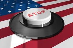 3D кнопка бело с словом СТОПОМ на предпосылке американского флага иллюстрация штока