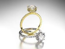3D кольца золота и серебра иллюстрации 2 с диамантами Стоковая Фотография RF