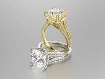 3D кольца золота и серебра иллюстрации 2 с диамантами Стоковая Фотография