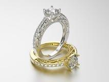 3D кольца золота и серебра иллюстрации 2 с диамантами Стоковые Изображения RF