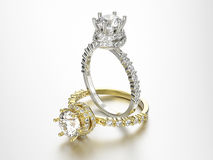 3D кольца золота и серебра иллюстрации 2 с диамантами Стоковые Фотографии RF