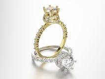 3D кольца золота и серебра иллюстрации 2 с диамантами Стоковое Изображение