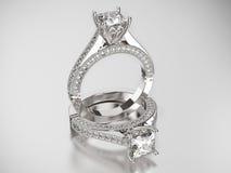 3D кольца золота иллюстрации 2 серебряные с диамантами Стоковое Изображение RF