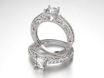 3D кольца золота иллюстрации 2 серебряные с диамантами Стоковое Изображение