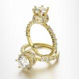 3D кольца золота иллюстрации 2 с диамантами Стоковое Изображение