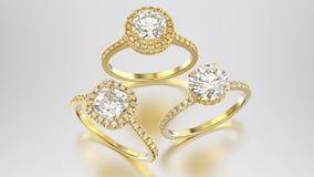3D кольца диамантов желтого золота иллюстрации 3 различные с Стоковое Изображение RF