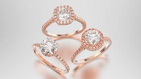 3D кольца диамантов золота иллюстрации 3 различные розовые с re Стоковое Изображение RF