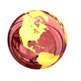 3d: Красный стекловидный взгляд глобуса земли Северной Америки Стоковые Фото