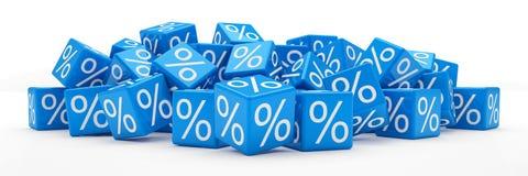3d - кубы процентов - синь Стоковые Фото