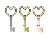 3D ключи иллюстрации 3 серебрят медь золота Стоковое фото RF