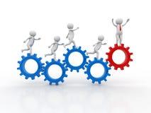 3d люди - человек, персона бежать в колесах шестерни Механизм бизнесмена и шестерни, концепция работы команды иллюстрация вектора