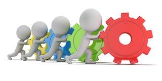 3d малые люди - команда с шестернями Стоковые Фотографии RF