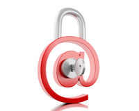 3d на знаке как padlock с ключом Стоковое Фото
