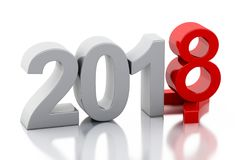 3d Новый Год 2018 Стоковое Изображение