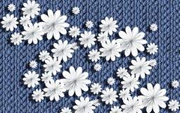 3d обои, бумажные цветки на текстуре Knitted иллюстрация вектора