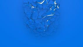 3d ломая голубую стену иллюстрация вектора
