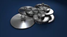 3D перевод, шестерни металла на синем стоковое изображение