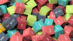 3d перевод, красочные кубы с расширениями домена Стоковые Фотографии RF