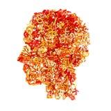 3d помечает буквами голову Стоковое Изображение