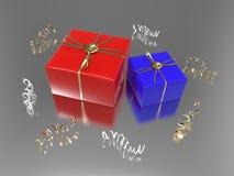 3D подарки и confetti голубого красного цвета иллюстрации 2 Стоковая Фотография